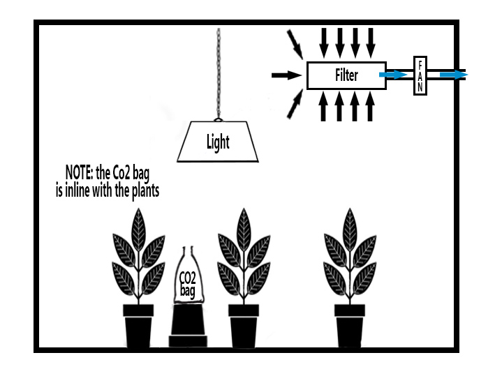 Diagram showing a CO2 bag being used in a grow room